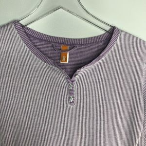 Lucy Tops - Lucy Henley Workout Shirt Lavender White Stripe L